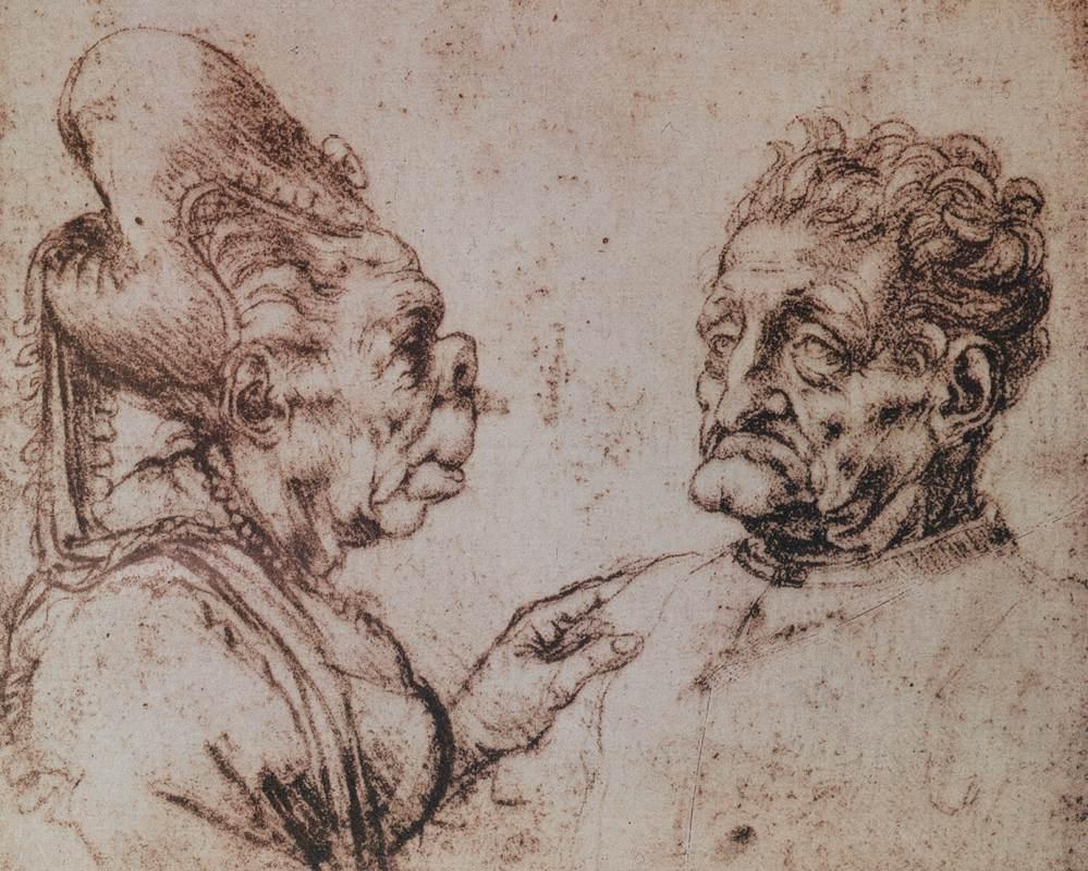 Due ritratti grotteschi eseguiti da Leonardo da Vinci